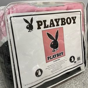 Playboy bunny blanket queen size pink plush black